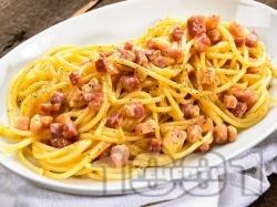 Спагети със сметана, бекон и жълтъци - снимка на рецептата